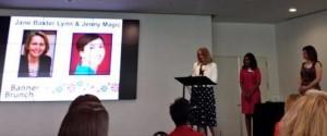 Jane Baxter Lynn accepting the Women Communicators of Austin's 2014 Gene Barnwell Waugh Mentor Award for her commitment to mentoring